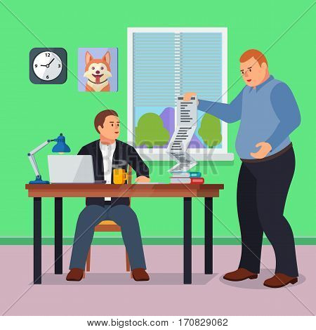 Hard Working man in office banner in flat style. Boss gives many requests to your manager. New job stress work info graphic. Stress on work. Office life and businessman. Vector illustration