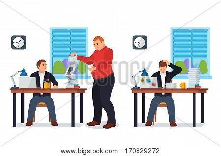 Hard Working man in office banner in flat style. Boss gives many requests to your manager. New job stress work info graphic. Stress on work. Business situation. More paperwork Vector illustration