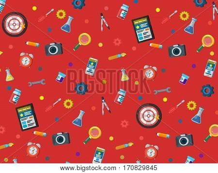 A set of elements on a red background. Web site development pattern in flat style. Web design web development and SEO. Background for website or advertising creative agency. Vector illustration