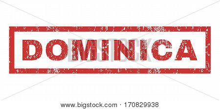 Dominica text rubber seal stamp watermark. Tag inside rectangular banner with grunge design and scratched texture. Horizontal vector red ink sticker on a white background.