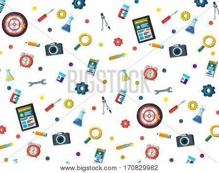 A set of elements on a white background. Web site development background in flat style. Web design web development and SEO. Background for website or advertising creative agency. Vector illustration
