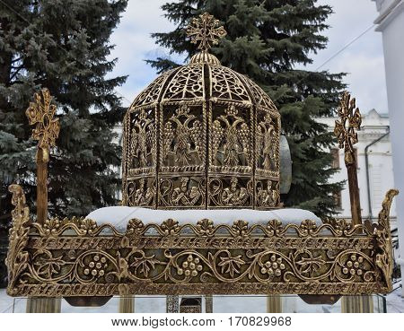 Outdoor candle near the chapel of the Venerable Arseny and Herman Sviatohirsky. Sviatohirsk Lavra Ukraine Donetsk region