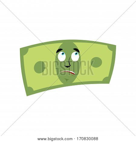 Money Surprised Emotion. Cash Emoji Astonished. Dollar Isolated