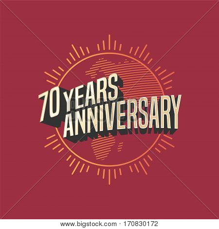 70 years anniversary vector icon, logo. Graphic design element for decoration for 70th anniversary card