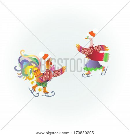 Cute cockerel and duck on the ice skating. Beautiful vector illustration. Greeting card.