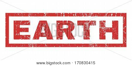 Earth text rubber seal stamp watermark. Tag inside rectangular banner with grunge design and scratched texture. Horizontal vector red ink emblem on a white background.