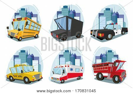 A set of machines. ambulance, fire car, truck, taxi, school bus, police car. cityscape. against the backdrop of the city