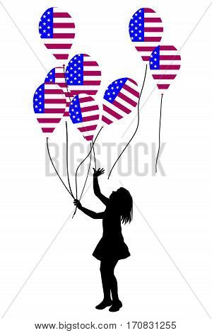 Girl silhouette with USA patriotic balloons on white background