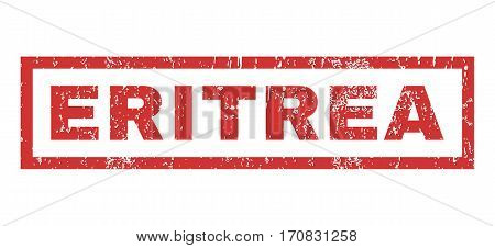 Eritrea text rubber seal stamp watermark. Caption inside rectangular banner with grunge design and unclean texture. Horizontal vector red ink sign on a white background.