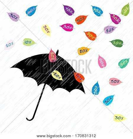Background on a theme of autumn sales with leaves and umbrella