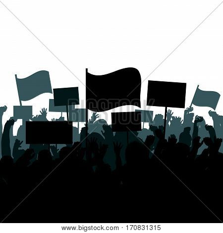 Silhouettes of protesting crowd on white background