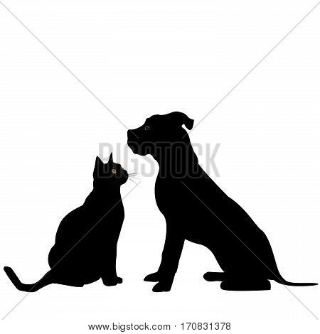 Black silhouette of dog and cat on white background