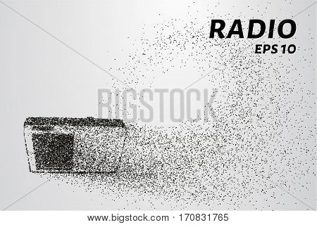 Radio Of The Particles. Silhouette Radio Consists Of Dots And Circles. Vector Illustration