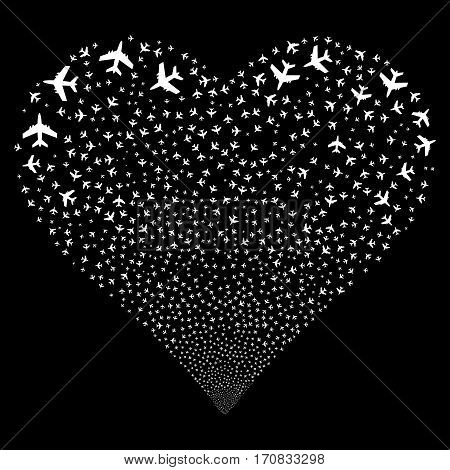 Jet Plane fireworks with heart shape. Vector illustration style is flat white iconic symbols on a black background. Object valentine heart organized from scattered design elements.