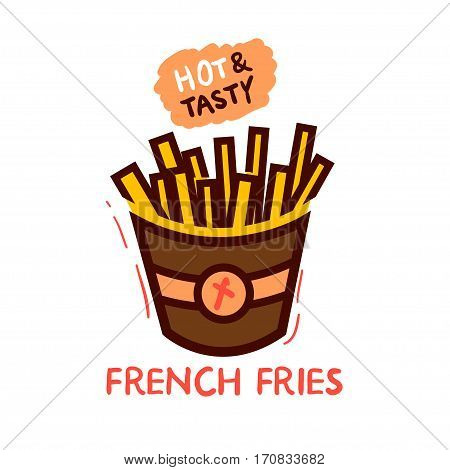 Fast Food Vector Icon. French Fries Potato in Bucket.