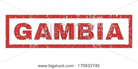 Gambia text rubber seal stamp watermark. Tag inside rectangular banner with grunge design and scratched texture. Horizontal vector red ink sign on a white background.