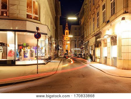 Beautiful street in central part of Vienna Austria Europe.