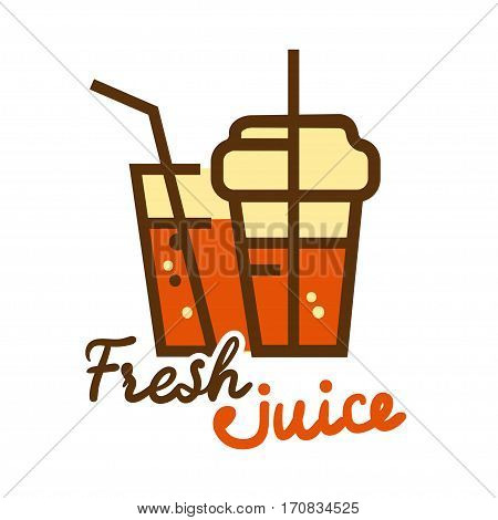 Colorful fresh orange juice emblem, vector illustration for your design.