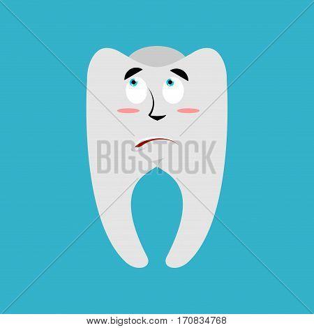 Tooth Surprised Emoji. Teeth Astonished Emotion Isolated