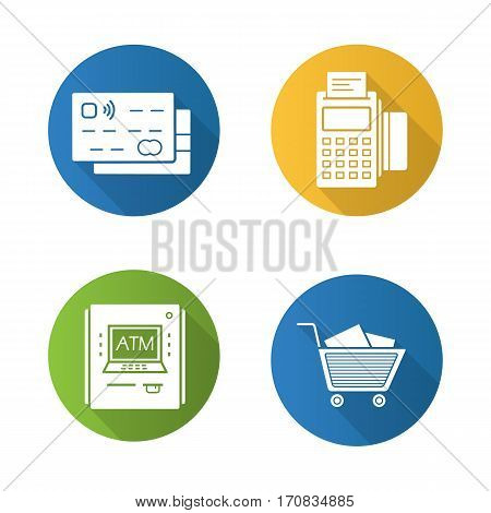 Supermarket shopping items. Flat design long shadow icons set. Grocery store. Credit cards, pos terminal, bank atm machine, shopping cart with boxes. Vector silhouette illustration