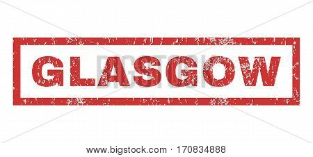 Glasgow text rubber seal stamp watermark. Caption inside rectangular banner with grunge design and scratched texture. Horizontal vector red ink sticker on a white background.