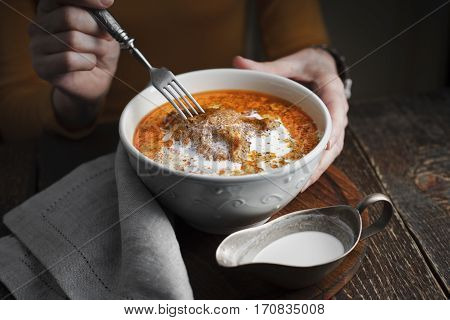 Butter chicken and cream sauce on the table horizontal