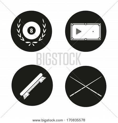 Billiard equipment icons set. Billiard brush, table with balls rack, crossed cues and eight ball in laurel wreath. Vector white silhouettes illustrations in black circles