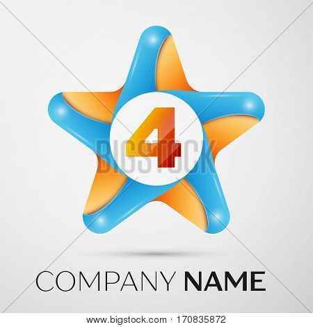 Number four vector logo symbol in the colorful star on grey background. Vector template for your design