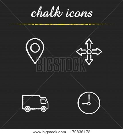 Delivery service chalk icons set. Map pinpoint, transportation truck, time and delivery symbols. Isolated vector chalkboard illustrations