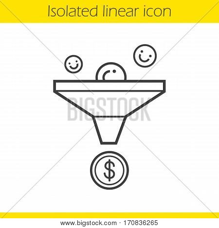 Sales funnel linear icon. Thin line illustration. Marketing funnel concept contour symbol. Vector isolated outline drawing