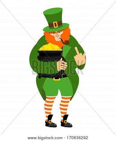 Angry Leprechaun Fuck And Pot Of Gold. Dwarf In Green Clothes. Boiler Of Golden Coins. St.patrick S