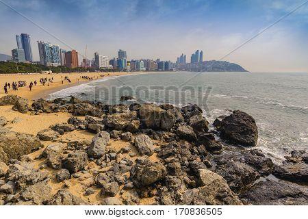 Haeundae Beach And Busan City Skyline, Busan, South Korea