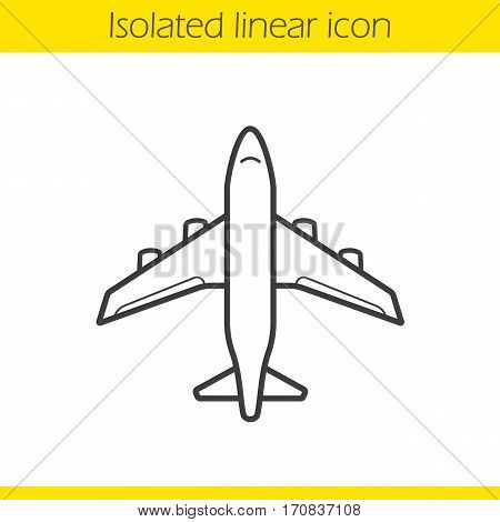 Plane linear icon. Thin line illustration. Airplane flight contour symbol. Vector isolated outline drawing