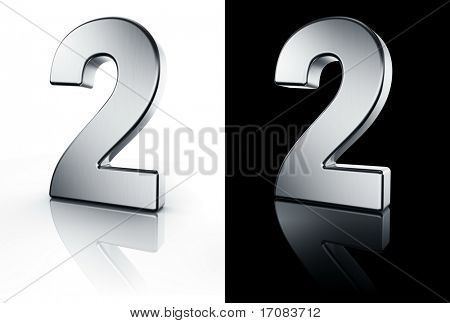 3d rendering of the number 2 in brushed metal on a white and black reflective floor.