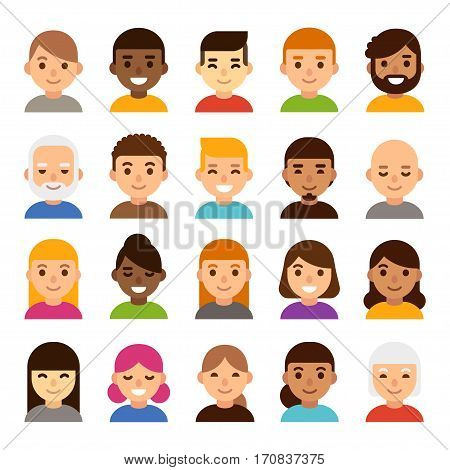Set of diverse male and female avatars simple flat cartoon style. Cute and minimalistic people faces vector illustration.