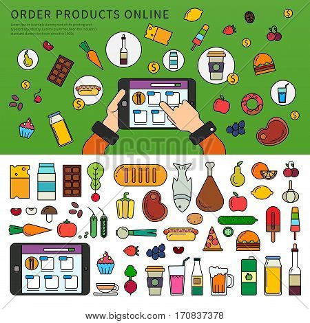 Thin line flat design of the hand choosing products on the tablet. App for ordering products online. Set of products, meat, vegetables, beverages isolated on white background
