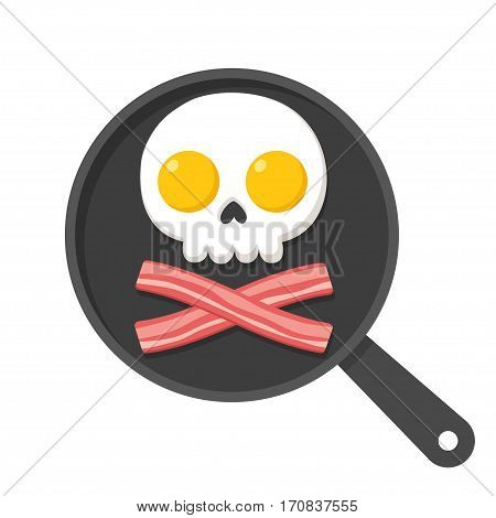 Fried eggs and bacon on skillet in shape of skull and bones pirate breakfast illustration.