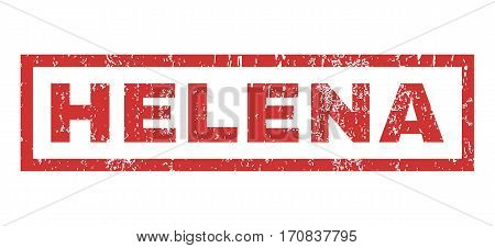 Helena text rubber seal stamp watermark. Tag inside rectangular banner with grunge design and scratched texture. Horizontal vector red ink emblem on a white background.