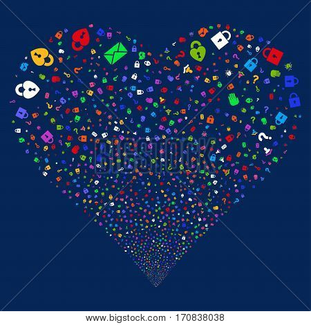Secrecy Symbols fireworks with heart shape. Vector illustration style is flat bright multicolored iconic symbols on a blue background. Object heart done from random pictograms.