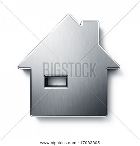 3d rendering of a house in brushed metal on a white isolated background.