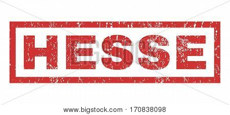 Hesse text rubber seal stamp watermark. Caption inside rectangular shape with grunge design and scratched texture. Horizontal vector red ink emblem on a white background.