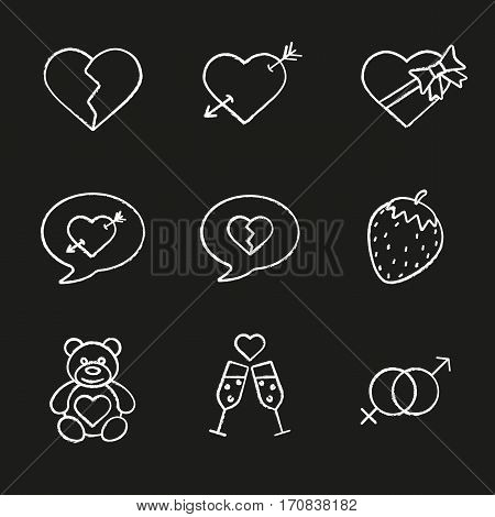 Valentine's Day chalk icons set. Heartbreak, love messages, sex and erotic symbols, champagne, teddy bear, arrow piercing heart, candy box. Isolated vector chalkboard illustrations