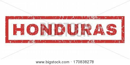 Honduras text rubber seal stamp watermark. Tag inside rectangular shape with grunge design and dirty texture. Horizontal vector red ink emblem on a white background.