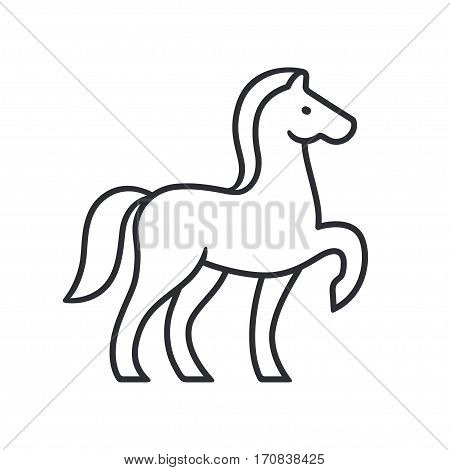Horse silhouette outline for emblem or logo. Simple and minimal equine vector illustration.