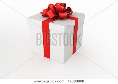 3d rendering of a white gift box with a tag