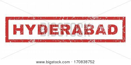 Hyderabad text rubber seal stamp watermark. Caption inside rectangular shape with grunge design and scratched texture. Horizontal vector red ink emblem on a white background.