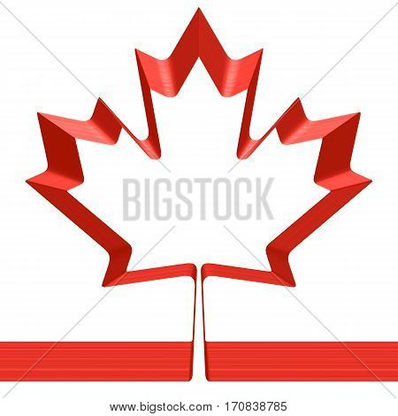 Red ribbon in shape of maple leaf isolated on white background - symbol of Canada and National flag of Canada 3D illustration