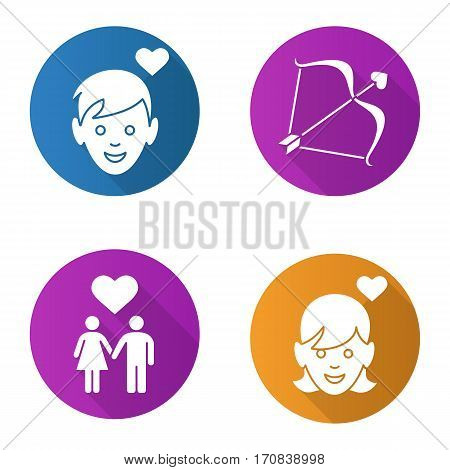 Valentine's Day flat design long shadow icons set. Enamoured boy and girl, man and woman holding hands, Cupid's bow and arrow. Vector silhouette illustration