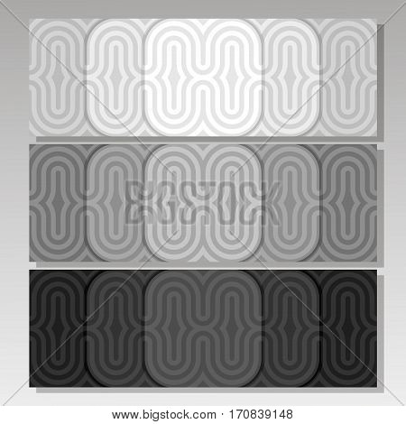 Vector set monochrome Background Banners: three black and white abstract seamless ribbons, 3 headers with repeat geometric patterns, pale grey horizontal background banner, repeating graphic ornament.