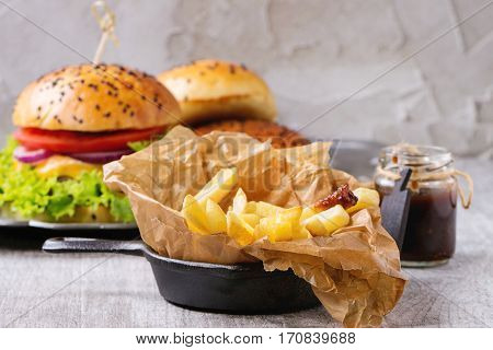 French Fries With Hamburger